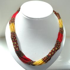 African Zulu beaded rope necklace in gold, red and black, Ethnic necklace