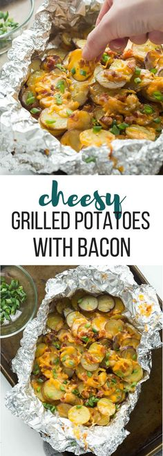 These Cheesy Grilled Potatoes with Bacon are an EASY foil pack side dish or appetizer for summer! Make it a full meal deal by adding extra veggies or chicken. Includes step by step recipe video. grilled grilling side dish grill barbecue make ahe Potato Dishes, Food Dishes, Side Dish Recipes, Dinner Recipes, Breakfast Recipes, Grilled Side Dishes, Sides For Grilled Chicken, Bbq Chicken Side Dishes, Barbecue Side Dishes