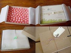 candy invitations | Add candies to the bottom of the box and wrap in tissue.( Wedding Bee ...