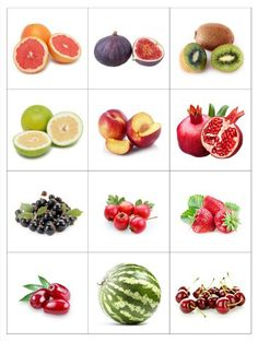 Print out and practice fruit names - memory matching game or flash cards use. Fruit Names, Activities For Kids, Crafts For Kids, Fruit Picture, Food Pyramid, Food Themes, Food Crafts, Kids Education, Fruits And Vegetables