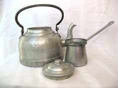 Vintage tea kettle Coffee pot and cup  by IvanaSVintageGallery