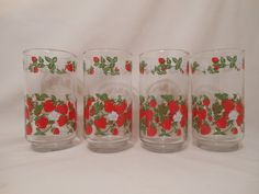 Vintage Glass with Strawberries and Strawberry Blossoms. $12.00, via Etsy.