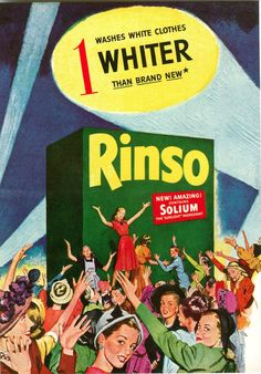 1947 RINSO Laundry Soup Print AD SOLIUM Sunlight Ingredient Box REPRO