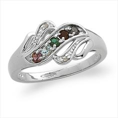 Buy Sterling Silver Mother's Birthstone Ring with Diamond Accent at Limoges