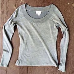 Blouse Very soft grey Ann Taylor blouse. Long sleeves with rounded neck. Ann Taylor Tops Blouses