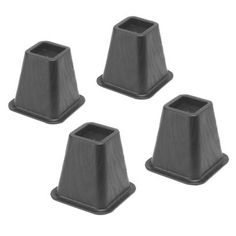 Whitmor Bed Risers - Black (Set of Made of durable black plastic resin; add height to your bed without worry of the risers breaking. Bed risers may be stacked together when not in use to conserve space. Furniture Risers, Bed Furniture, Black Furniture, Resin Furniture, Dorm Bed Risers, Adjustable Bed Risers, Low Bed Frame, Bed Legs, Bed With Posts