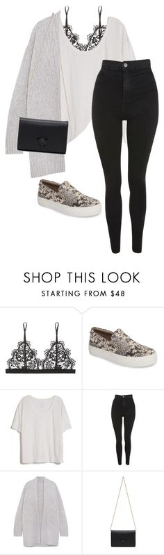 """Untitled #720"" by petitaprenent ❤ liked on Polyvore featuring Anine Bing, Steve Madden, Fine Collection, Topshop, Vince and Versace"