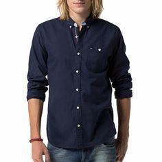 Chemise Tommy Hilfiger homme modèle Finn en coton bleu marine