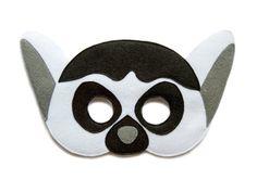 Máscara de fieltro de LEMUR - Madagascar inspirado Vestido de Lemur - rey de Madagascar - hijos adultos - Safari animal máscara - la máscara - máscara de carnaval