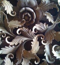 Detail of carved teak wood. via Puji