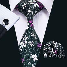 SN-1240 New Hot Floral Prints Mens Tie Hanky Cufflinks Black&Purple Silk Necktie