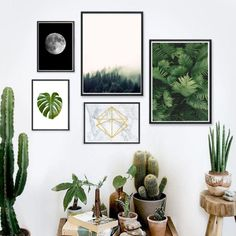 Set fünf Poster mit botanischen Motiven als Deko fürs Zuhause / urban jungle decoration for your home: art prints with botanical leaves made by Black Dot Studio via DaWanda.com