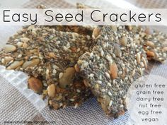 Easy Seed Crackers. Vital Stats: Grain Free, Gluten Free, Dairy Free, Egg Free, Nut Free, Vegan