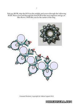 free bead weaving pattern: donut pendant