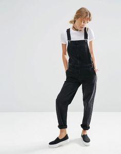ASOS Denim Overalls in Washed Black