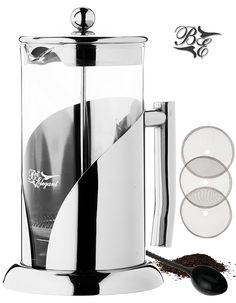 French Press Coffee Maker Tea Maker by BitElegant 34 Oz, 8 Coffee Cups, 1 Litter, 4 Customary Cups, Luxury Heavy Duty Stainless Steel and Borosilicate Glass Coffee Press, Non-Plastic >>> This is an Amazon Affiliate link. For more information, visit image link.
