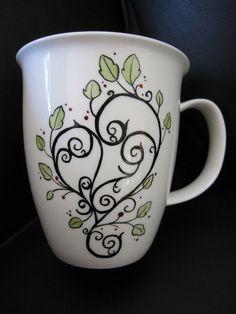 Tea cup, Coffee mug,  heart, hand painted bone china. $31.00, via Etsy.