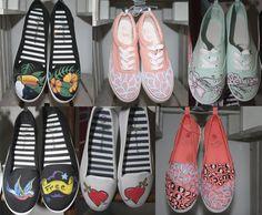 Zapatillas personalizadas, pintadas a mano. Hand- made
