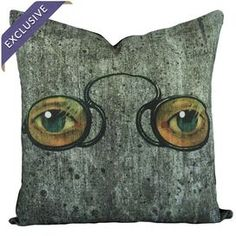 Cotton pillow with a design inspired by Dr. T.J. Eckleburgs billboard in the The Great Gatsby. Handmade in the USA exclusively for Joss & Main.  Product: PillowConstruction Material: CottonColor: MultiFeatures:  Handmade by The Watson ShopEnvelope enclosureHandmade in USAArt Nouveau-inspired designInsert includedExclusive Joss & Main product Dimensions: 16 x 16Cleaning and Care: Dry clean only
