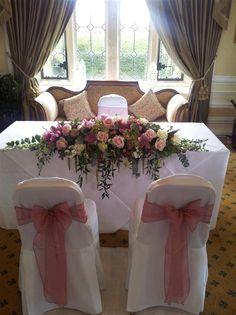 Wedding Top Table, Bridal Table, Wedding Chairs, Top Table Flowers, Table Flower Arrangements, Garden Wedding Decorations, Wedding Table Centerpieces, Church Wedding Flowers, Marie