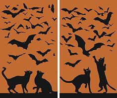 WOWindow Posters Cats & Bats Halloween Window Decoration…