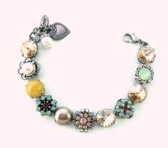 MAGNOLIA Swarovski crystal 12mm bracelet silk by SiggyJewelry