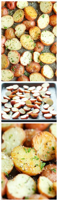Garlic Parmesan Roasted Potatoes ~ These buttery garlic potatoes are tossed with Parmesan goodness and roasted to crisp-tender perfection!