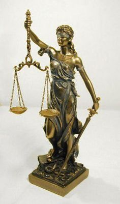 "LADY JUSTICE STATUE Polyresin Traditional Bronze Powder Cast 12.5"" Lawyer Blind #Traditional"