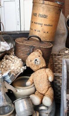 Brocante, déco brocante, ours en peluche ancien