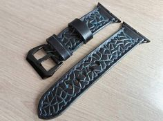 Black and Turqoise Apple Watch Strap Leather Strap For Apple