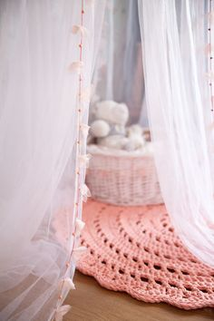 Handmate Salmon Pink Crochet Rug by MeruHome