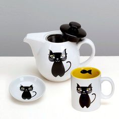 Cat 3-Piece Tea Set, $28.25, now featured on Fab. I ordered a set. So cute!
