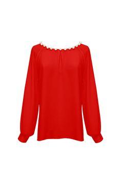 Camisa de lunares con perlas TERIA YABAR Otoño Invierno 2019 2020 Blouse, Long Sleeve, Sleeves, Tops, Women, Polka Dot Shirt, Red Shirt, Full Sleeves, Pearls