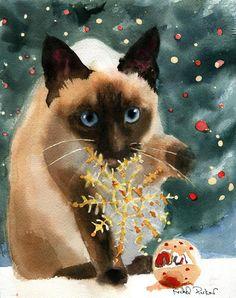 Christmas Siamese cat Art Print of a watercolor par rachelsstudio