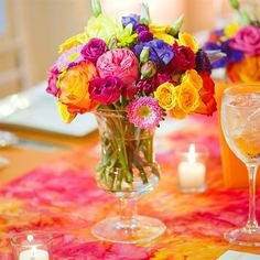 Dessert glass with flowers - Colorful Centerpiece
