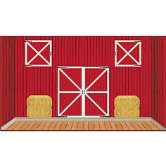The Barn Scene Setters features individual plastic pieces with the looks of hay bales, barn doors and a side of a barn that when combined.