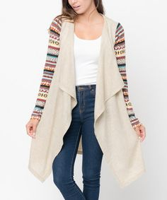 Another great find on #zulily! Taupe Geo-Sleeve Open Cardigan #zulilyfinds