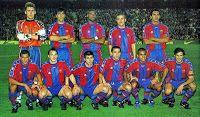 F. C. BARCELONA - Barcelona, España - Temporada 1997-98 - Hesp, Nadal, Bogarde, Luis Enrique y Giovanni; Rivaldo, Ferrer, Celades, Sergi, Anderson y Figo - F. C. BARCELONA 3 (Sonny Anderson, Luis Figo, Giovanni) REAL MADRID C. F. 0 - 07/03/1998 - Liga e 1ª División, jornada 28 - Barcelona, Nou Camp - El Barcelona se proclama campeón de la Liga y de la Copa, bajo la dirección de Louis Van Gaal Barcelona Football, Fc Barcelona, Real Madrid, Bernabeu, Soccer, Rey, Avengers, Vintage, Breakfast Nook