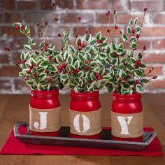 Christmas mason jar arrangement, with greens.