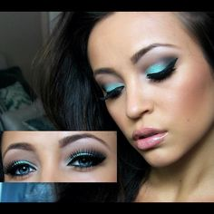 Love the blue eye shadow.