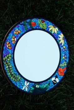 Mirror 18 Round Mosaic Flowers & Bugs by NatureUnderGlass on Etsy
