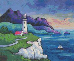 Cross stitch modern art by Gillian Mowbray 'The Lighthouse Evening' cross stitch kit @ Modstitch.co.nz