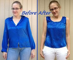 Cobalt Tank Top Refashion by CarissaKnits