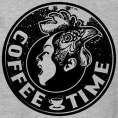Tonony.com | LATTE KAFFEE PAUSE GESCHENKIDEE T-SHIRT   - Unisex Pullover  - Aber auch andere coole Prints für Damen, Herren, Kinder und Babys auf zahlreichen verschiedenen Produkten.   T-SHIRT > SCHREIENDER MENSCHEN MIT EINEM HAHNENKOPF, MIT DEM TEXT COFFEE TIME. ES GIBT KAFFEE UND KUCHEN, DANN KANN DER KAFFEEKLATSCH MIT DEM PERFEKTEN T-SHIRT BEGINNEN. SCHWARZ T-SHIRT