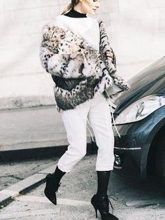 Faux-Fur Coat + White Sweater + Black Turtleneck + White Pants + Black Tights + Ankle Boots
