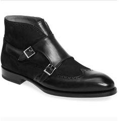 Handmade Men Black Leather Boots, Men Black Monk Strap Chukka Boot, Leather