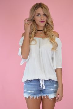 Ivory Arizona Off The Shoulder Top | Foi Clothing Boutique | Off The Shoulder | Trendy Top | Tie Details | Must Have | Buy NOW on Foiclothing.com | Spring and Summer Fashion | Perfect Transition Piece | Women's Boutique | Elastic Off The Shoulder |
