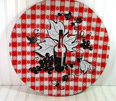 Retro Round Red Oversized Metal Tray Vintage by DivineOrders, $10.00