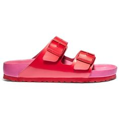 Birkenstock Birkenstock x Kirna Zab??te Arizona Red & Fuchsia Slide ($270) ❤ liked on Polyvore featuring shoes, red shoes, birkenstock shoes, flat slip on shoes, flat pumps and strappy flat shoes