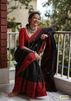 While all our six yards are equally precious and treasured by us, we would like to present you few top-listed pieces that have received the most amount of love in the past. Grab them before they're gone. Black Saree, Black Cotton Saree, Silk Cotton Sarees, Bengal Cotton Sarees, Black Blouse, Cotton Saree Designs, Formal Saree, Saree Blouse Patterns, Skirt Patterns